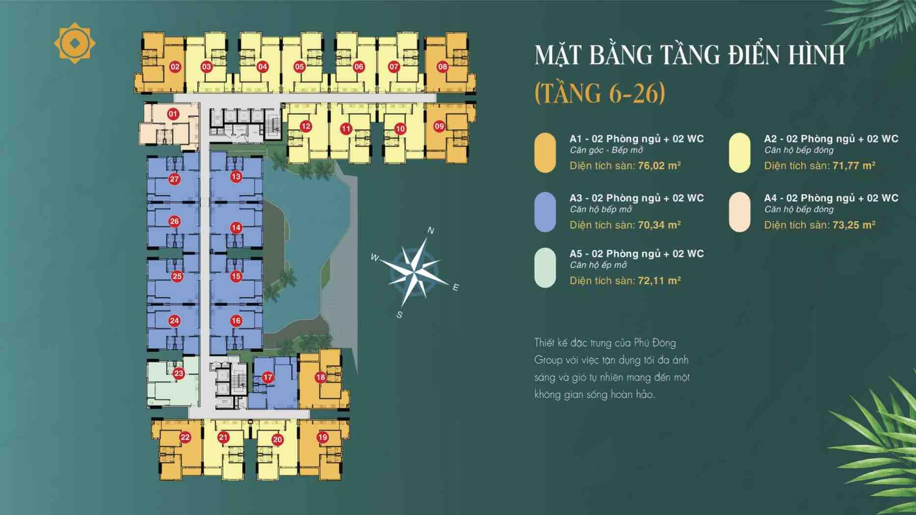 Mặt bằng căn hộ Phú Đông 3